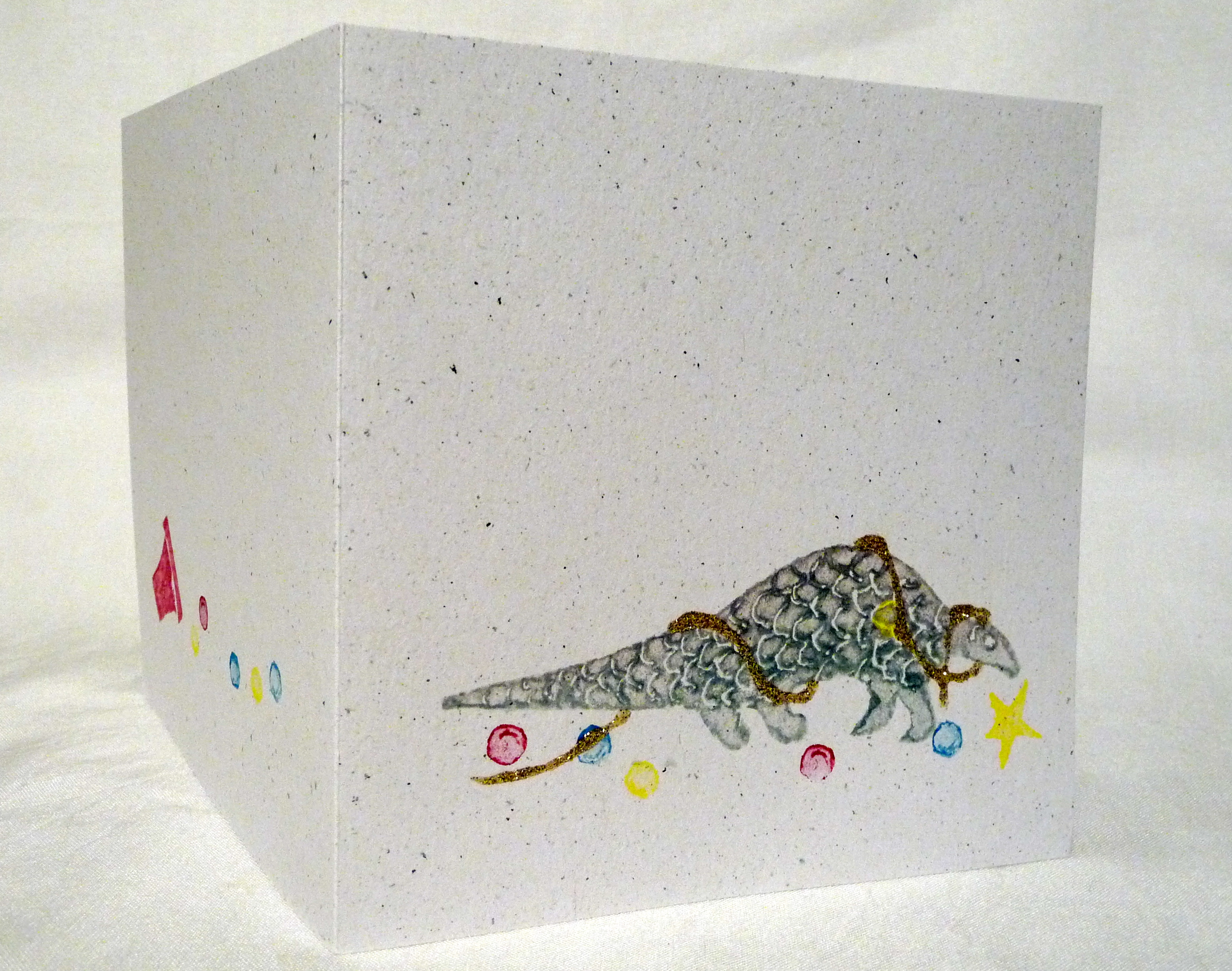 Pangolin Christmas cards – finishing touches | No Idle Han