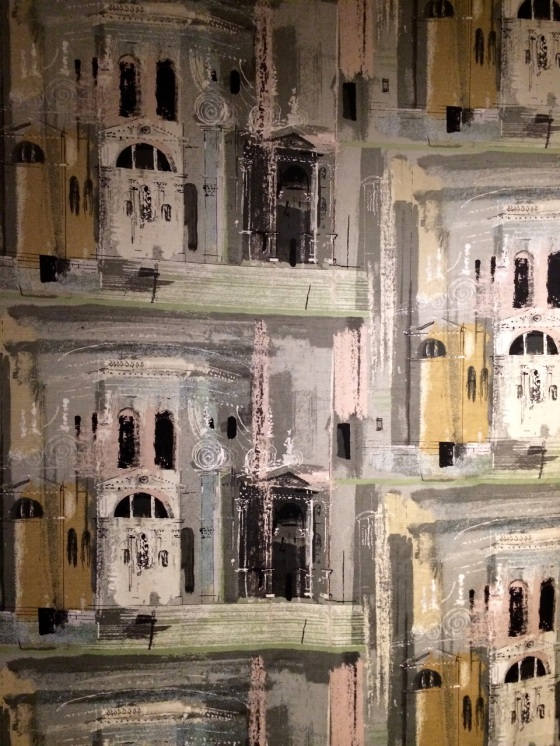 John Piper, 'Chiesa de la Salute', screen-printed 'Sanderlin' satinised cotton furnishing textile. Sanderson & Son Ltd, London, issued 1960